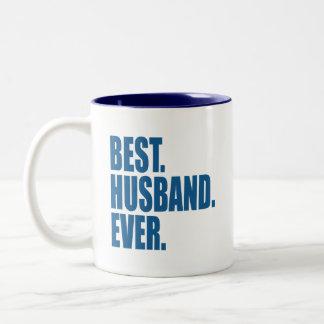 Am besten. Ehemann. Überhaupt. (Blau) Zweifarbige Tasse