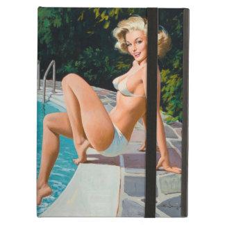 Am Pool sexy blonden Retro Pinupmädchen