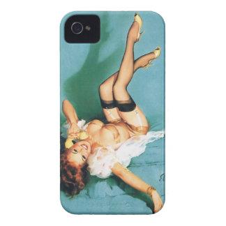 Am Telefon - Vintages Button herauf Mädchen iPhone 4 Case-Mate Hülle