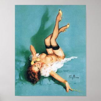 Am Telefon - Vintages Button herauf Mädchen Poster