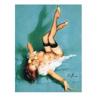 Am Telefon - Vintages Button herauf Mädchen Postkarte