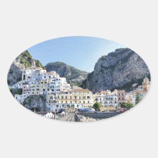 Amalfi-Italien-Hafen-Amalfiküste-dito Ovaler Aufkleber