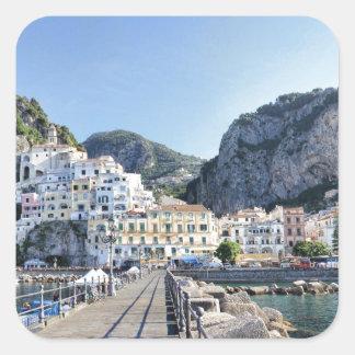 Amalfi-Italien-Hafen-Amalfiküste-dito Quadratischer Aufkleber