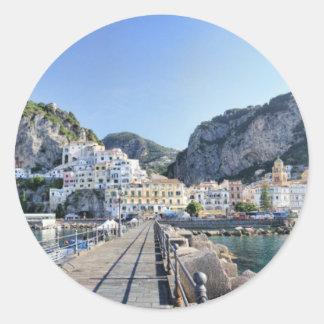 Amalfi-Italien-Hafen-Amalfiküste-dito Runder Aufkleber