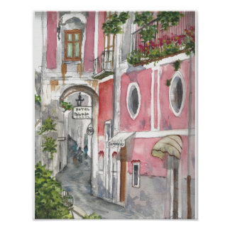 Amalfi-Küsten-Hotel Palumbo Aquarell-Plakat Poster