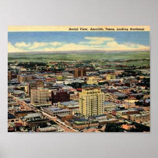 Amarillo, Texas, Luftaufnahme, 1950 Vintag Poster