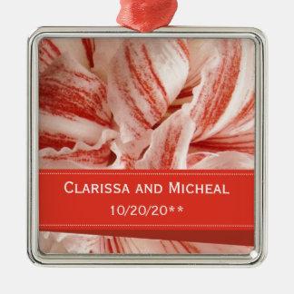 Amaryllis-Blumenblatt-personalisierte Hochzeit Silbernes Ornament