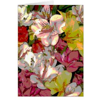 Amaryllis-Blumenmuster-Gruß-Karten Karte