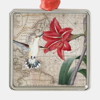 Amaryllis Mao Hummer Silbernes Ornament