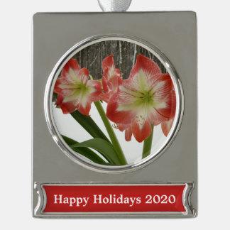 Amaryllis Rot-Feiertags-dem Winter in des Schnee-I Banner-Ornament Silber