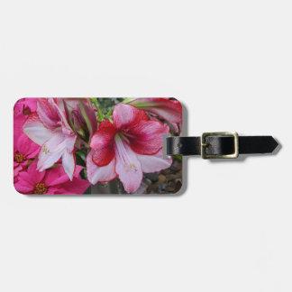 Amaryllis-und Poinsettia-rote Feiertags-Blumen Gepäckanhänger