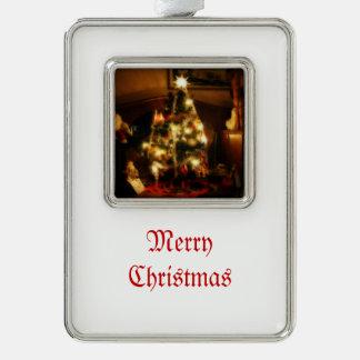Amaryllis-Weihnachten Rahmen-Ornament Silber