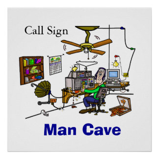 Amateurfunk-Mann-Höhlen-Bretterbude-Plakat
