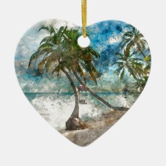 Amber Caye Belize Reise-Bestimmungsort Keramik Herz-Ornament