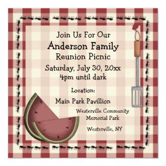 Ameisen und Wassermelone-Sommer-Picknick-Einladung Quadratische 13,3 Cm Einladungskarte