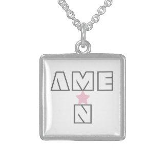 AMEN and Star Halskette Mit Quadratischem Anhänger