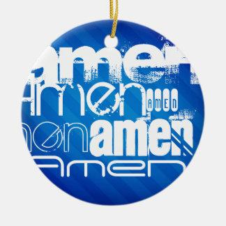 Amen; Königsblau-Streifen Rundes Keramik Ornament