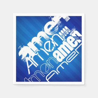 Amen; Königsblau-Streifen Papierserviette