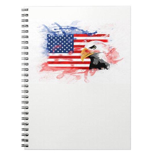 American Eagle, Flagge. USA, Amerika. Spiral Notizblock
