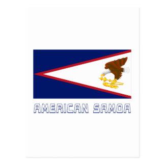 American- Samoaflagge mit Namen Postkarte
