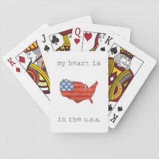 Americana| mein Herz ist in der USA-Karte Spielkarten