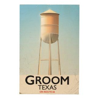 Americanareisedruck Bräutigam-Texas-Weges 66 Holzleinwand
