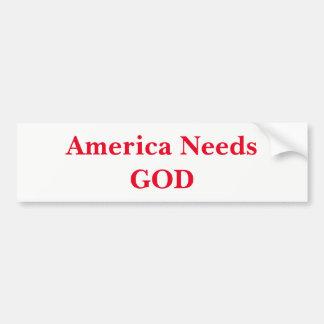 Amerika benötigt den Gott (rot) Autoaufkleber