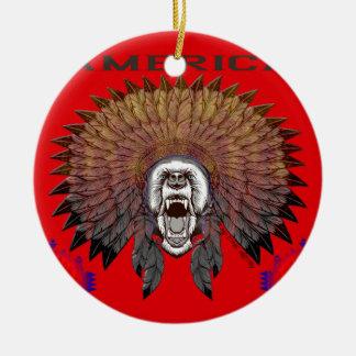 Amerika Face bear bears Rundes Keramik Ornament