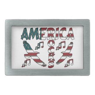 Amerika-Felsen mit Eagles u. musikalischen Rechteckige Gürtelschnalle