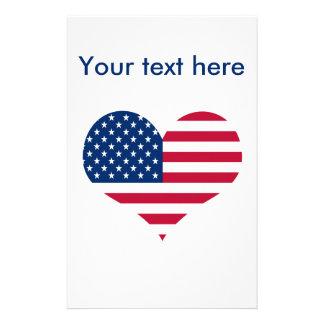 Amerika-Flagge amerikanisches USA-Herz Briefpapier