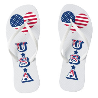 Amerika-Flagge amerikanisches USA-Herz Flip Flops