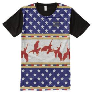 Amerika-Flagge färbt roten kahler Adler-Stern-T - T-Shirt Mit Komplett Bedruckbarer Vorderseite