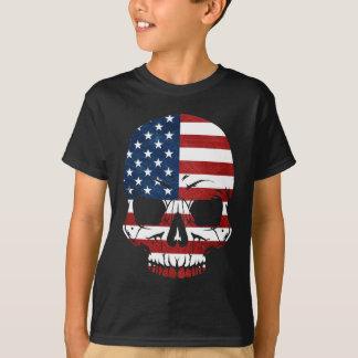 Amerika-Schädel-Flaggen-Skelett-Übel T-Shirt