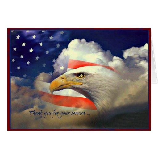 Amerikaner Eagle danken Ihnen Veteranen-Tageskarte Grußkarten