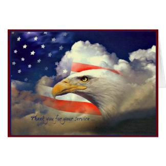 Amerikaner Eagle danken Ihnen Veteranen-Tageskarte Grußkarte