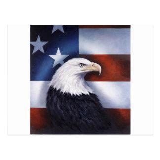 Amerikaner Eagle und Flagge Postkarte