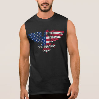 Amerikaner Eagle und Flaggen-Entwurf. Sleeveless Ärmelloses Shirt