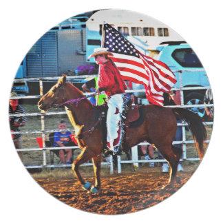 Amerikaner Flage Träger am Merbein Rodeo Teller