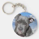 Amerikaner Pitbull Terrier Hündchen Standard Runder Schlüsselanhänger
