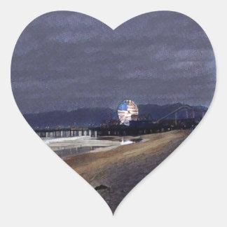 Amerikaner Riesenrad herein Santa Monica Herz-Aufkleber