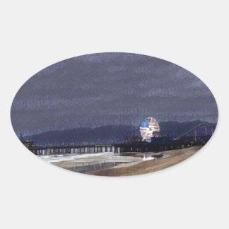 Amerikaner Riesenrad herein Santa Monica Ovaler Aufkleber