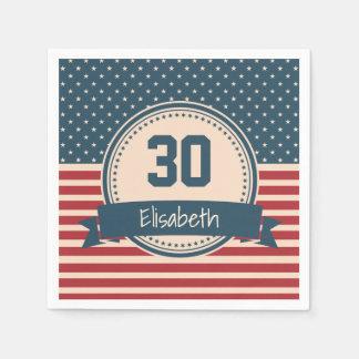 Amerikaner spielt patriotischen Flaggengeburtstag Papierserviette