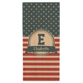 Amerikaner spielt patriotisches Flaggenmonogramm Holz USB Stick