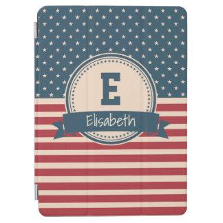 Amerikaner spielt patriotisches Flaggenmonogramm iPad Air Hülle