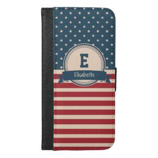 Amerikaner spielt patriotisches Flaggenmonogramm iPhone 6/6s Plus Geldbeutel Hülle