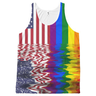 Amerikaner-u. Gay Pride-Flaggen Komplett Bedrucktes Tanktop