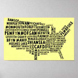 Amerikaner-Waliser-Ortsname-Plakat Poster