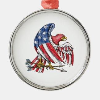 Amerikanische Adler-US Flagge-Flaggen-Tätowierung Rundes Silberfarbenes Ornament