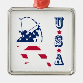 Amerikanische Bogenschützeflagge Silbernes Ornament