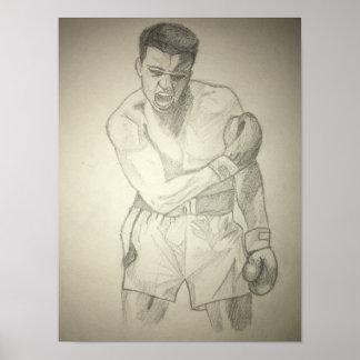 Amerikanische Boxer-Kunst-Skizze Poster